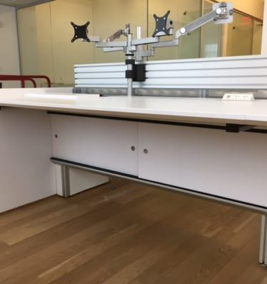 Used LaCour Trading Desks w/ Slatwall & Monitor Arms